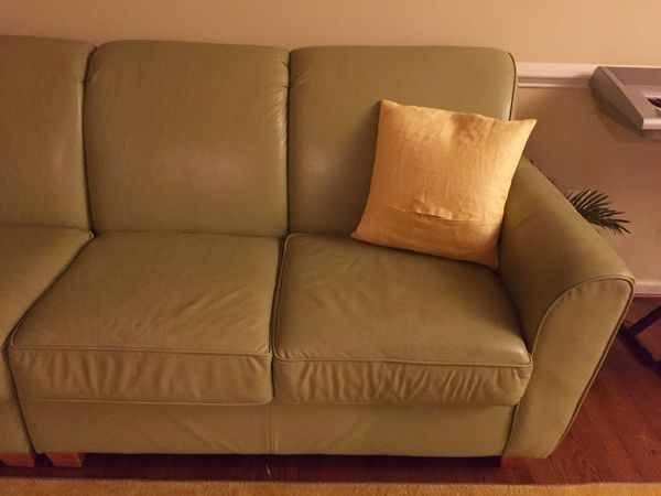 Green color leather sofa