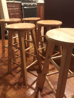 Five used wooden bar stools for Sale in Monterey Park, CA
