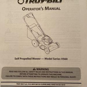 Troy-Bilt Self Propelled Mower Model Series V560 Pre-Owned Owner's Manual for Sale in Los Angeles, CA