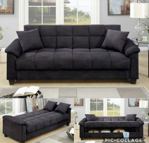 Futon sofa bed with storage ebony microfiber for Sale in Downey, CA