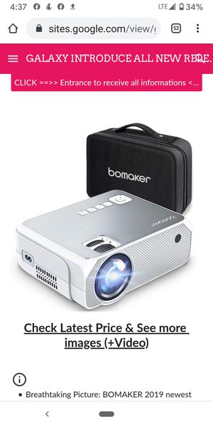 """NEW REVIEW"" BOMAKER Portable Projector LCD Full HD 3600 Lux, Home Theater Mini Projector Native 720P Resolution for Sale in Las Vegas, NV"