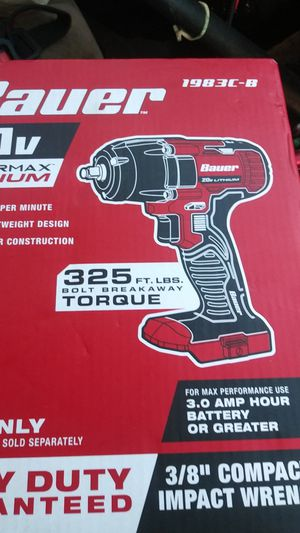 Bauer 20 v hypermax 3/8' compact impact wrench (tool only) for Sale in Manteca, CA