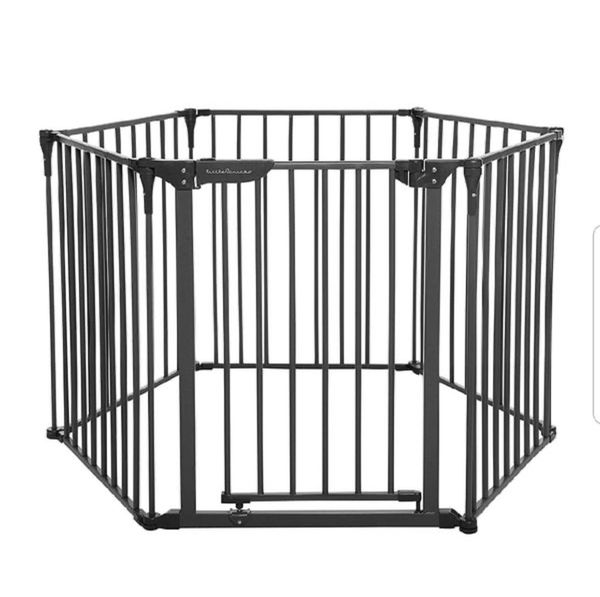 Little Chicks Oxford 3-in-1 Play Yard, Wide Barrier Gate, and Fireplace Guard. Can be used as a play yard, wide barrier gate or fireplace guard