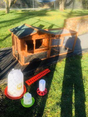 Chicken coop w/ chicken feeder & waterer. Rabbit/bunny house for Sale in Kent, WA