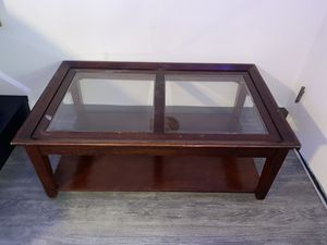 Wooden Coffee Table with Glass Tops for Sale in Arlington, VA