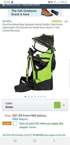 Baby hiking backpack for Sale in Victorville, CA