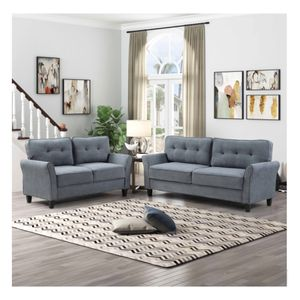 Brand New Tufted Sofa And Love Seat 2pcs in Dark Gray for Sale in Monterey Park, CA
