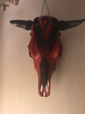 Custom mixed media real steer skull art piece for Sale in Portland, OR