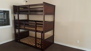 Triple bunk bed set new with 3 new mattresses included for Sale in Rancho Cucamonga, CA