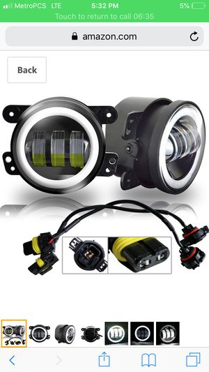 AUSI Pair 4 Inch Round Led Fog Headlights 30W Projector lens White Halo Fits Offroad Jeep Wrangler Jk TJ LJ CJ Dodge Chrysler Front Bumper Boat Lights for Sale in Santa Monica, CA