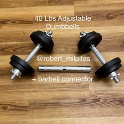 40 Lbs Adjustable Dumbbells With Barbell Connector - Cast Iron Weight Set, Brand New In Box for Sale in Milpitas,  CA