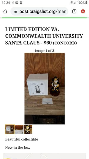 LIMITED EDITION VA. COMMONWEALTH UNIVERSITY SANTA CLAUS for Sale in Lynchburg, VA