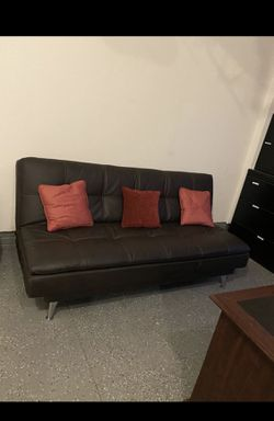 Leather Convertible Sofa with Self Stitching in Black for Sale in Avon,  OH