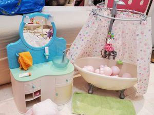 American Girl Ag Doll Bathroom Vanity Sink and Bubble Bathtub for Dolls for Sale in Miami Springs, FL