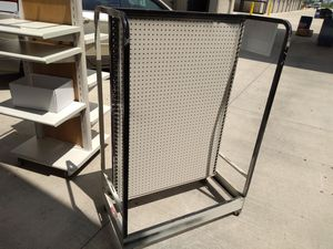 Heavy duty Retail shelves and peg board displays with wheels for Sale in Blacksburg, VA
