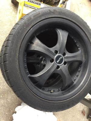 """18"""" Black Riax Rims 5x100 Bolt Pattern with Racing Tires for Sale in Seattle, WA"""