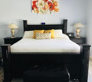 7pc King Bedroom Set Furniture Mocha Espresso Night Stand Dresser Bench for Sale in Phoenix, AZ