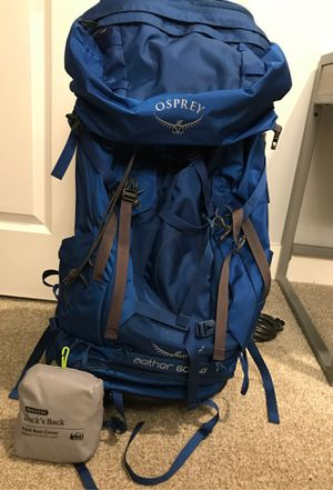 Osprey Backpacking Pack Aether 60 AG with Pack Rain Cover for Sale in Marietta, GA
