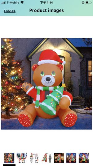 6ft Inflatable Christmas Cute Teddy Bear Holding Tree LED Blow Up Lighted Decor Indoor Outdoor Holiday Art Decor Decorations for Sale in Walnut, CA