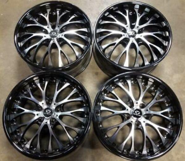 "Gloss Black w/ Machined Face Custom Rims Wheels 19"""