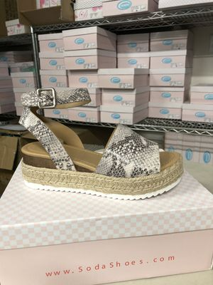 Woman's size8.5 opic beige python print ankle strap flatform sandal espadrilles for Sale in Corona, CA