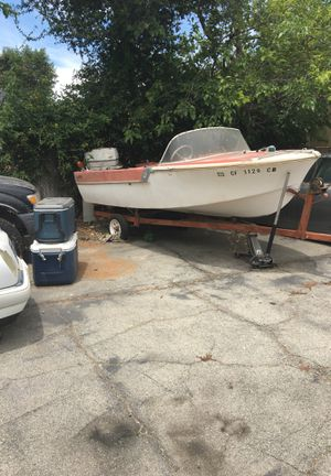 Antique boat, early 60s project , with motor and tryler for Sale in San Bernardino, CA