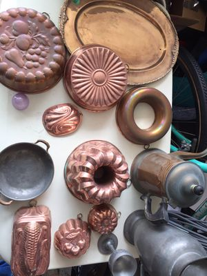 Copper and pewter kitchen stuff for Sale in Palo Alto, CA