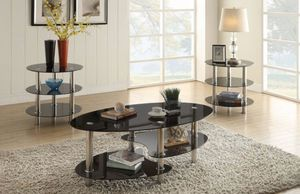 3pcs coffee table set/black tempered glass for Sale in Long Beach, CA