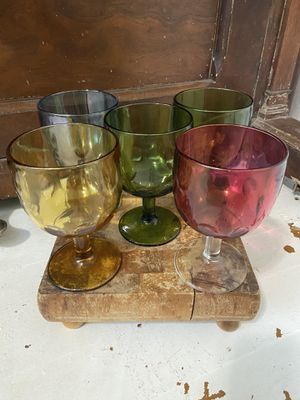5 Vintage multi thumbprint glass goblets. for Sale in Cashmere, WA