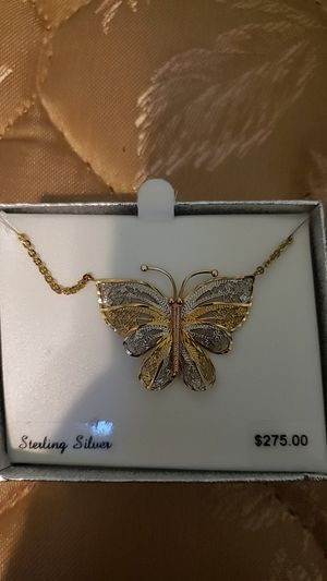 """Silver/Gold Butterfly Pendant 17"""" Sterling Silver Chain for Sale in Westminster, CA"""