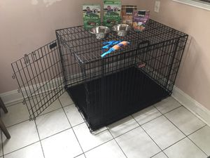 XL (big enough for 2 large dogs) cage & free food/bowls/new leash for Sale in Hyattsville, MD