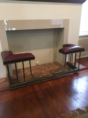 Rare Antique Brass & Leather Fireplace Fender for Sale in Austin, TX