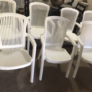 Available 8 White Resin Chair Indoor Outdoor High Back Wide Seats Pick Up Gaithersburg Md20877 for Sale in Gaithersburg, MD