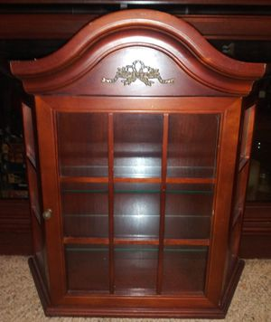 Wall Hanging Wooden Display Cabinet Glass for Sale in Pulaski, TN