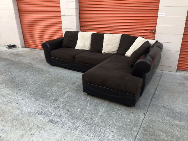 Dark Brown Microfiber Sectional Couch -I can deliver