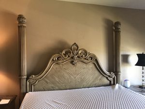 Beautiful king bedroom set, includes bed, dresser with mirror, Armoire, 2 night stands for Sale in Scottsdale, AZ