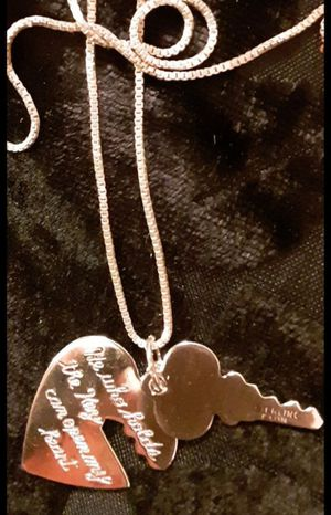"""STERLING SILVER NECKLACE & CHARMS Key to your heart keepsake sterling charms 22"""" sterling chain for Sale in Tacoma, WA"""