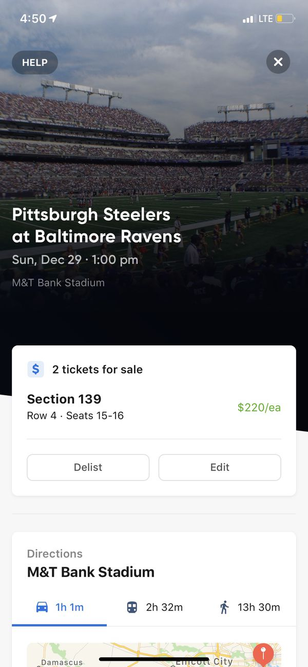 2 tickets to the Steelers vs Ravens game