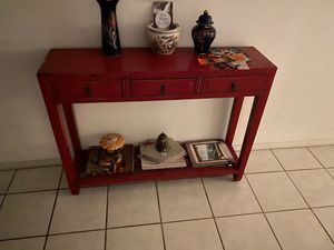 Distressed Red Elmwood Chinese Ming Console Table with 3 Drawers for Sale in Palo Alto, CA