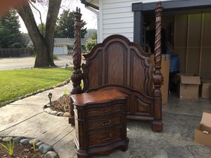 Queen Sized Bed Frame and Side Table for Sale in Vacaville, CA