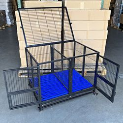 """New $170 Folding Heavy Duty Dog Cage 41x31x34"""" Double-Door Stackable Kennel w/ Divider, Plastic Tray for Sale in South El Monte,  CA"""