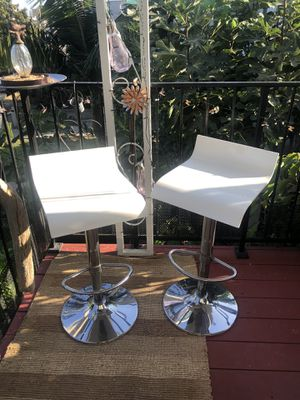 Modern White & Silver Stools- set of 2- for Sale in Los Angeles, CA