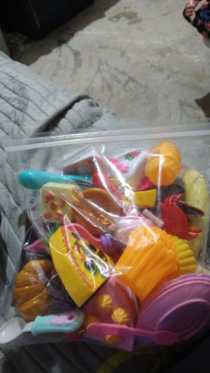 Bag of Kids Variety Of Toy Plastic Food, And Kitchen ware & Plastic Tea Kettle for Sale in Garland, TX