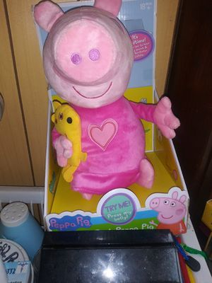 PEPPA PIG OIK MAKE NOISE SLEEPING STUFFED ANIMAL PLUSH. FOR KIDS OR BABY GIRL OR BOY WORKS for Sale in Schenectady, NY