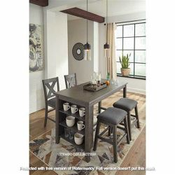 NEW, GRAY COUNTER TABLE with 2 STOOLS and 2 BARSTOOLS. for Sale in Chino,  CA
