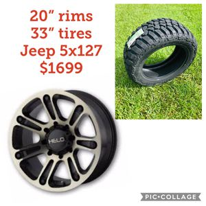 "20"" Jeep Black machined wheels 33"" MT $1699 new in box for Sale in Lakeland, FL"