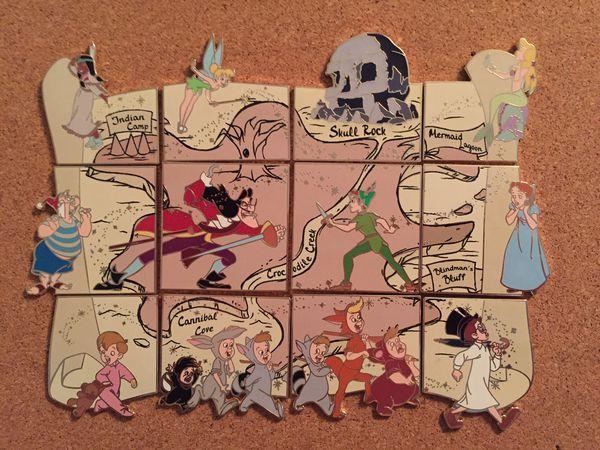 Disney Peter Pan 65th Neverland Map Puzzle Pin Set