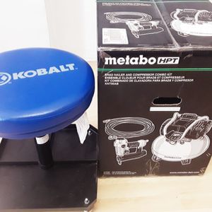 METABO HPT Brad Nailer & Compressor Combo Kit + KOBALT Pneumatic Stool for Sale in Brooklyn, NY