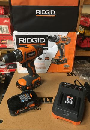 RIDGID 18-Volt Lithium-Ion Cordless 2-Speed 1/2 in. Compact Drill/Driver Kit with (2) 1.5 Ah Batteries, Charger, and Tool Bag for Sale in Fontana, CA