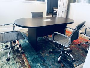 Conference table 6' dark mahogany finish with 4 grey adjustable chairs for Sale in Pittsburgh, PA